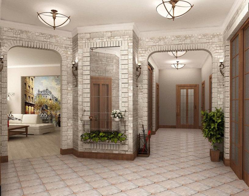 Дизайн холла в частном доме